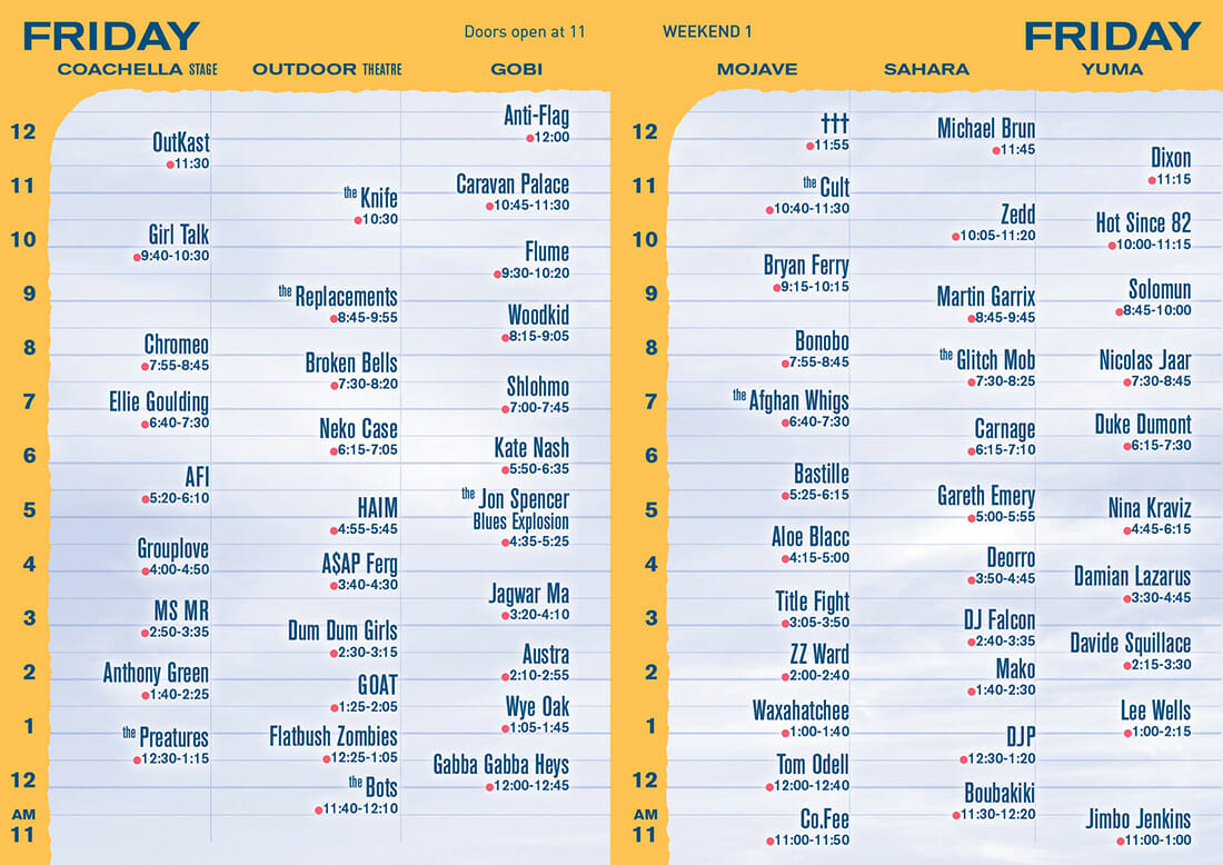 Coachella releases Weekend 1 set timesCoachella Set Times Friday