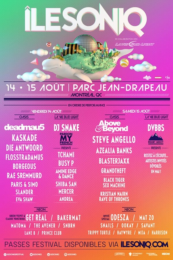 ÎleSoniq unveils 2015 lineup with Deadmau5, Kaskade, DJ Snake, Above & Beyond and moreIlesoniq 2015