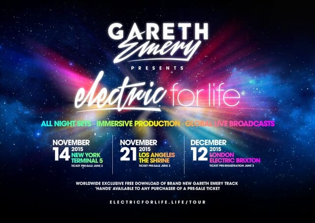 Gareth Emery presents the 'Electric For Life' tour with open-to-close setsEFL Live Web Poster V.1