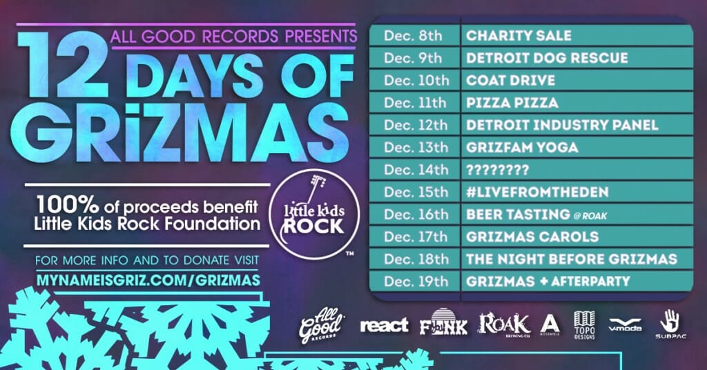 GRiZ announces 12 Days of GRiZmas to benefit Little Kids Rock12 Days Of Grizmas