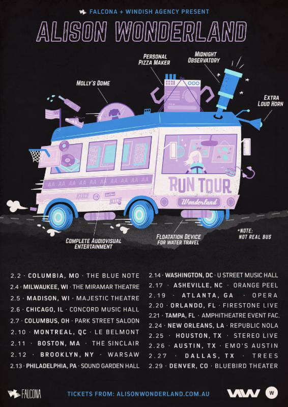 Alison Wonderland is finally touring the US, pairs the announcement with new Lido collaborationAlison Wonderland Tour Announce Artwork