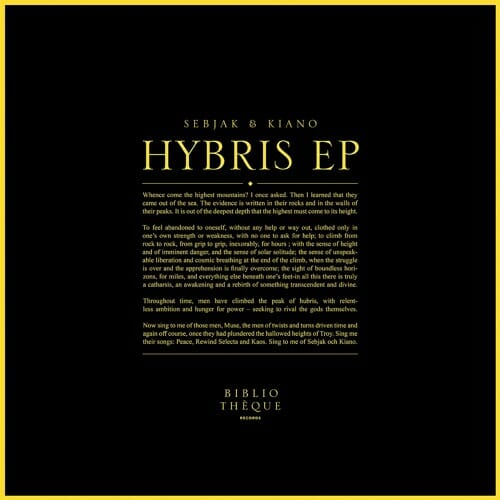 Bibliotheque Records launches with Sebjak and Kiano's 'Hybris EP'Hybris Ep