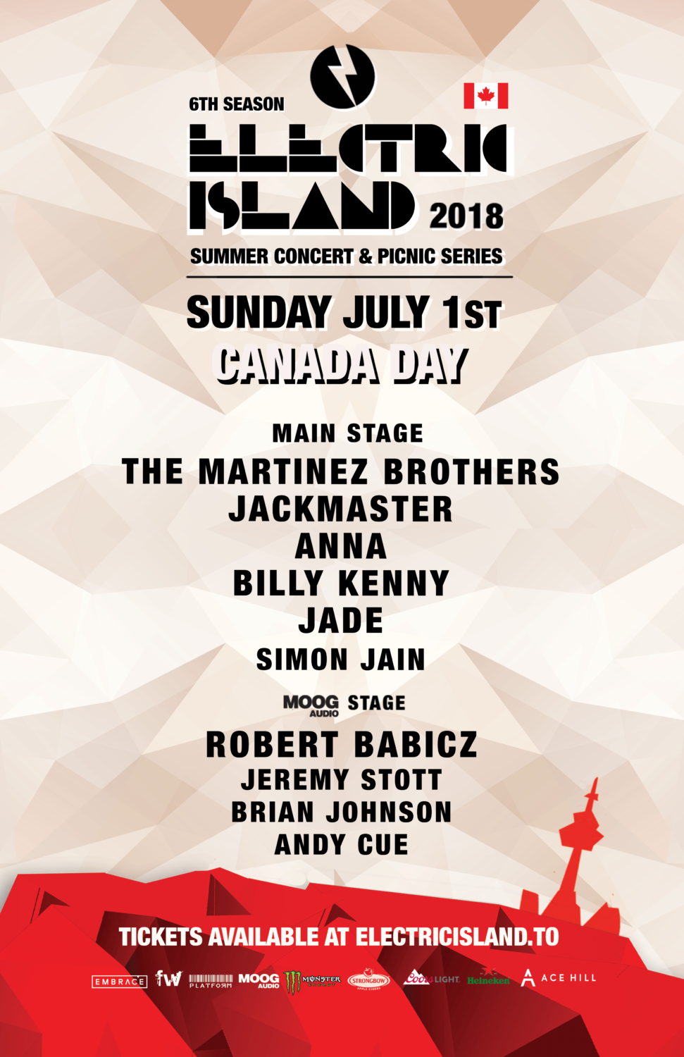 "Billy Kenny makes a storied return to Canada's annual ""Electric Island"" seriesCanadaDay Poster"
