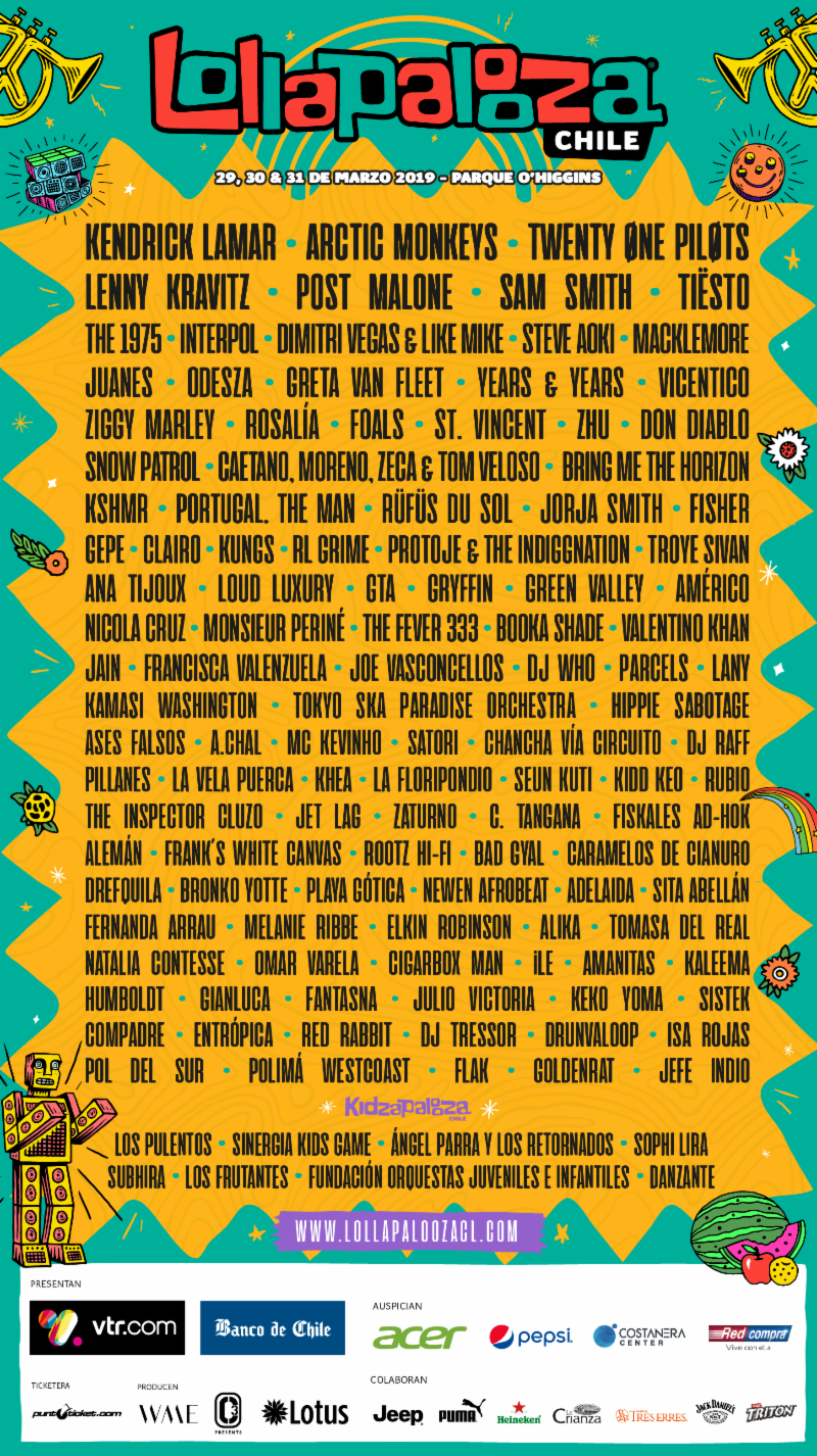 Kendrick Lamar, Arctic Monkeys, Tiësto, and Post Malone top 2019 Lollapalooza Chile, Argentina, Brasil lineupsLollapalooza Chile 2019