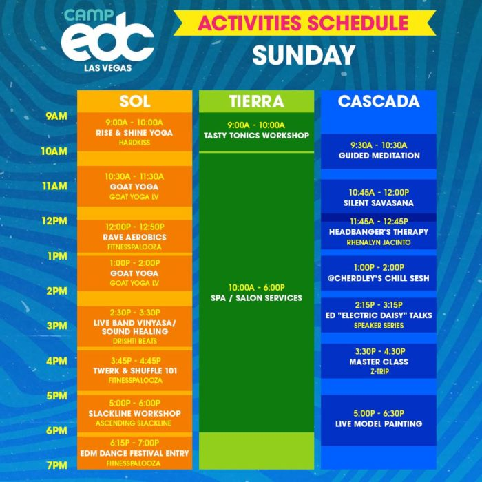 Camp EDC unveils weekend activities and artist set times for 2019 editionCamp Edc 2019 Sunday