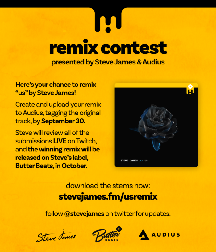 Audius and Steve James partner for new 'Us' remix contest [Enter Here]RemiFlyer Tall 1
