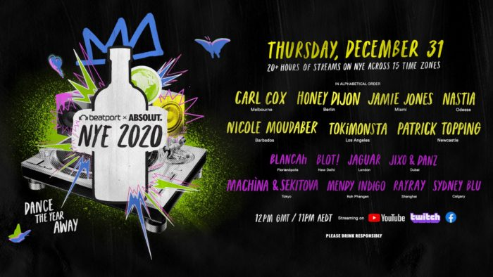 Absolut, Beatport complete #DanceAway2020 New Year's Eve lineup with addition of Honey Dijon, Nicole Moudaber, and moreBPABS FullLineUp FBEventCover 2